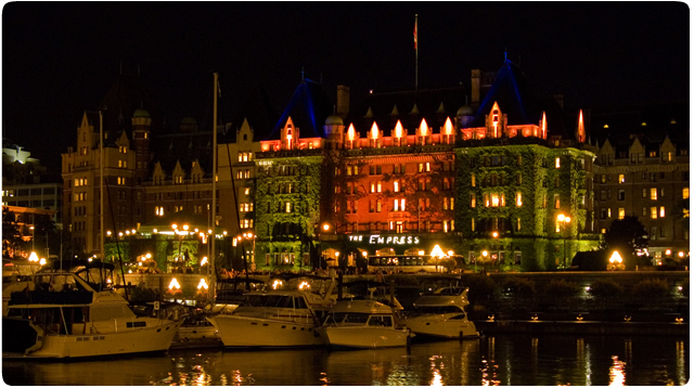photo of Downtown Victoria BC harbour at night